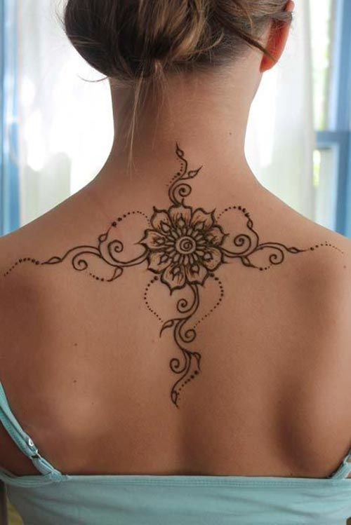 Mehndi Tattoo On Back : Back henna tattoos meant for lovers flower
