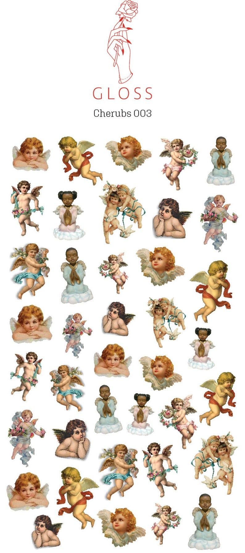 Cherubs 003 |Angel Nail Decals, Cherub Nail Art, Waterslide Decals, Gift for Her|
