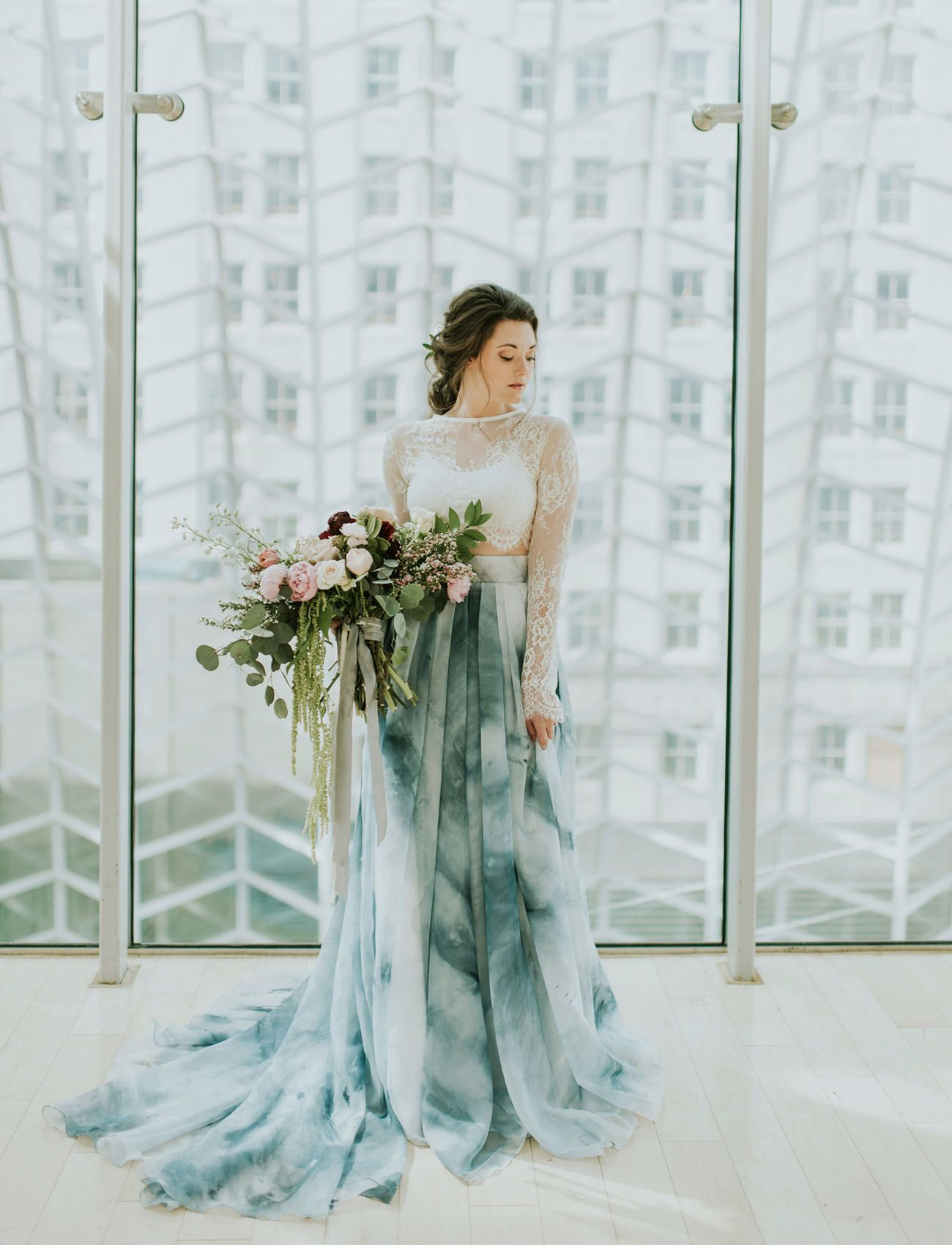 A Blue Watercolor Wedding Dress Green Wedding Dresses Ombre