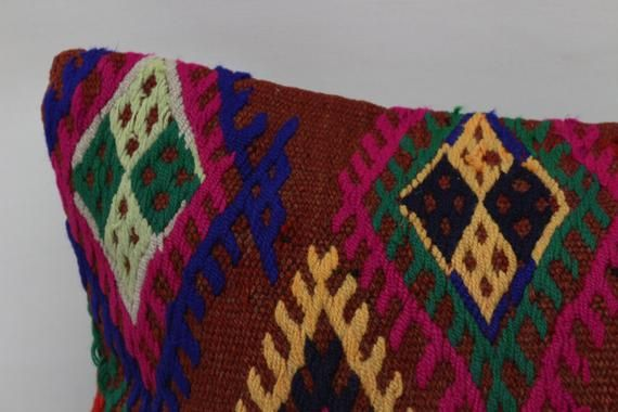 12x24 Bohemian Kilim Pillow, Designer Pillow,Pillow Cover,Embroidered Pillow,Throw Pillow, Chair Pil