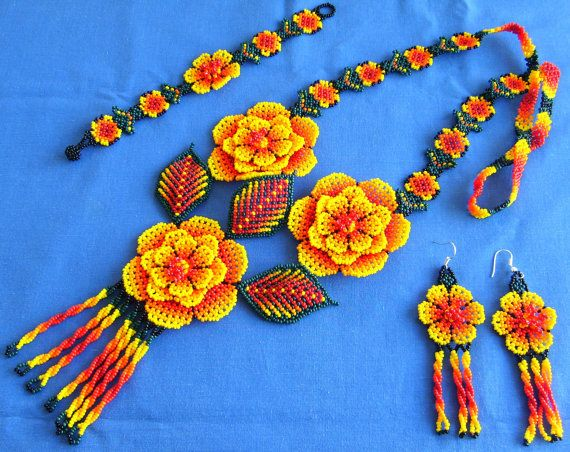 mexican huichol beaded necklace bracelet and earrings by