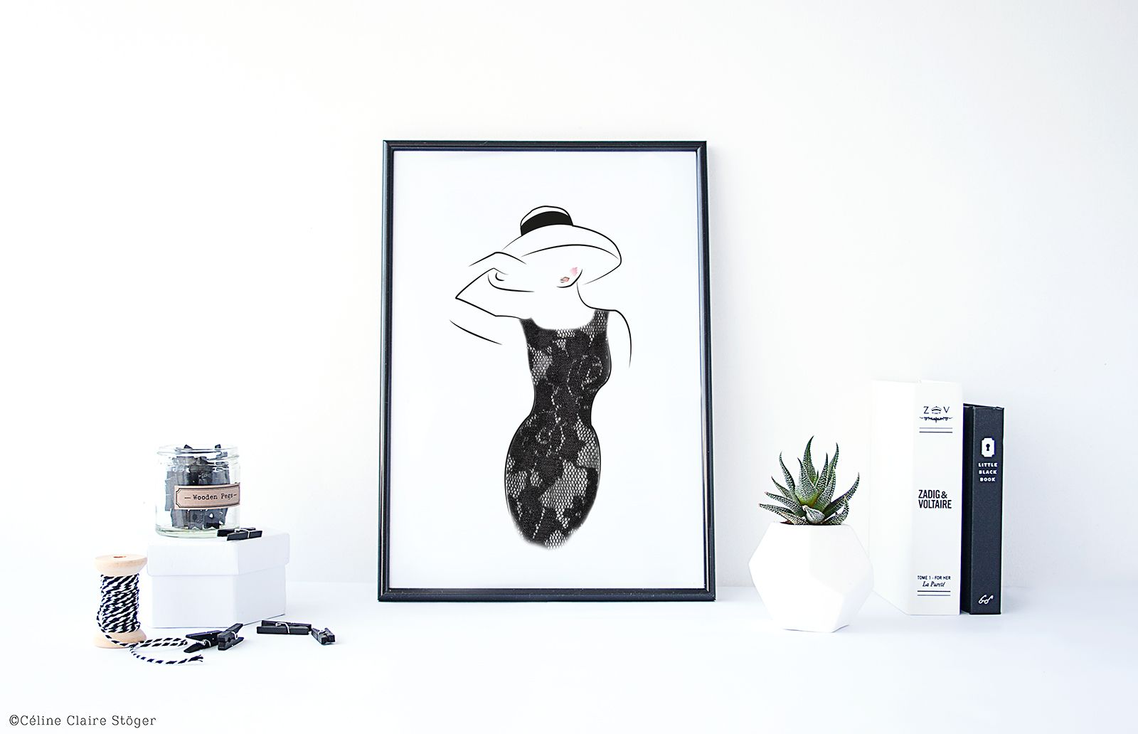 """Lady in Black"" Grafik - Céline Claire - Graphic Design & Digital Art #illustration #lady #ladyinblack #littleblackdress #fashion #fashionillustration #poster #artprint"
