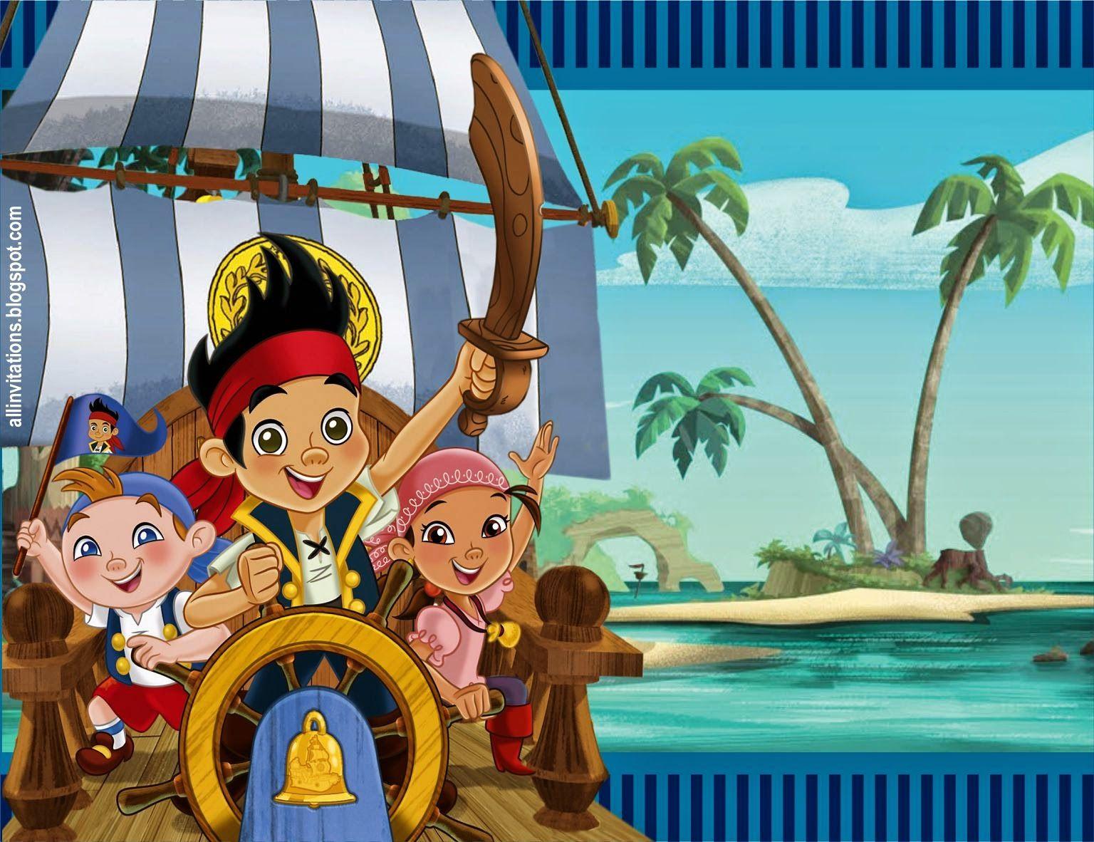 Tarjetas De Invitacion A Cumpleaños De Jake Y Los Piratas En