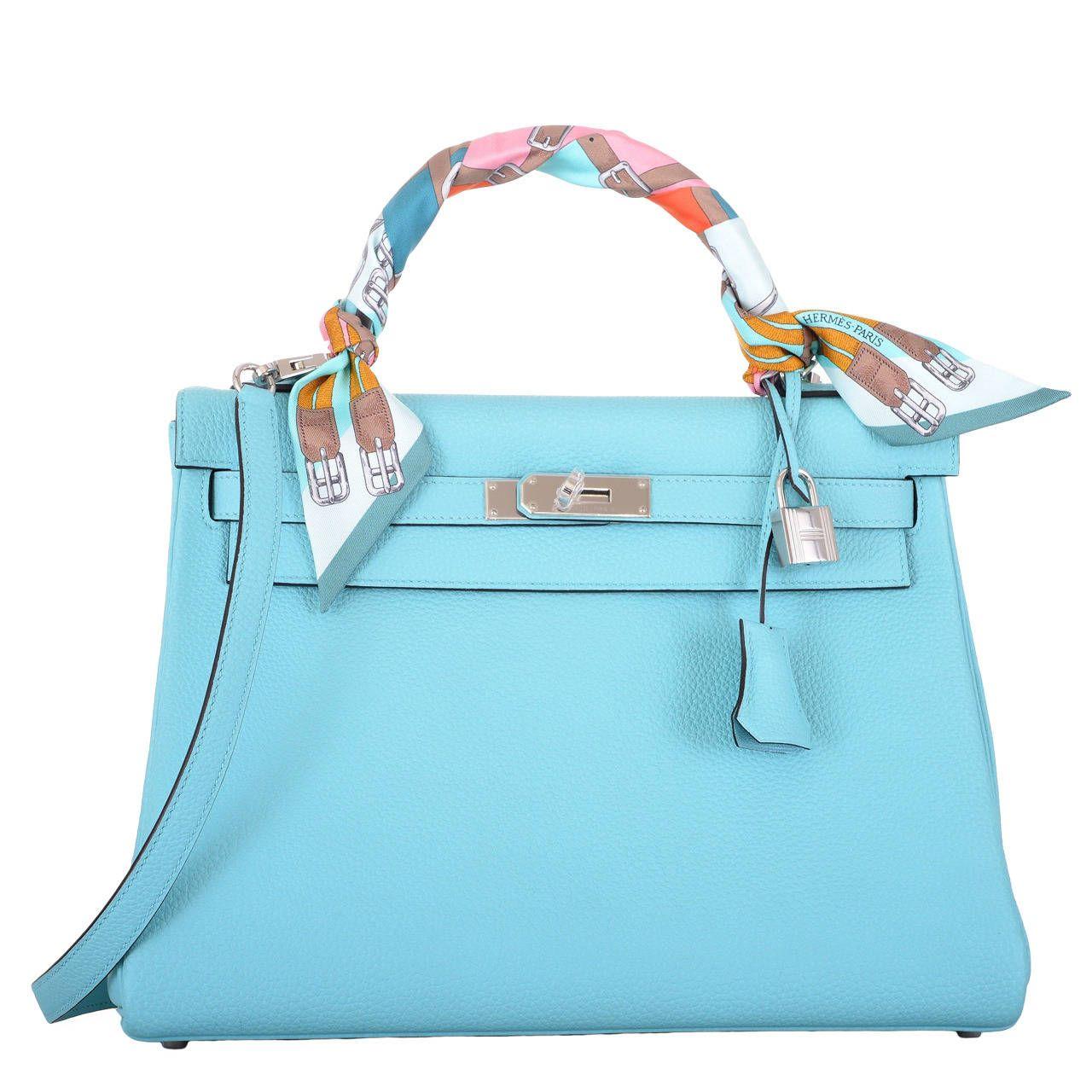 ed8f42db49a0 MUST C NEW COLOR BAG HERMES KELLY Bag BLUE BLEU ATOLL TOGO PALL HARDWARE
