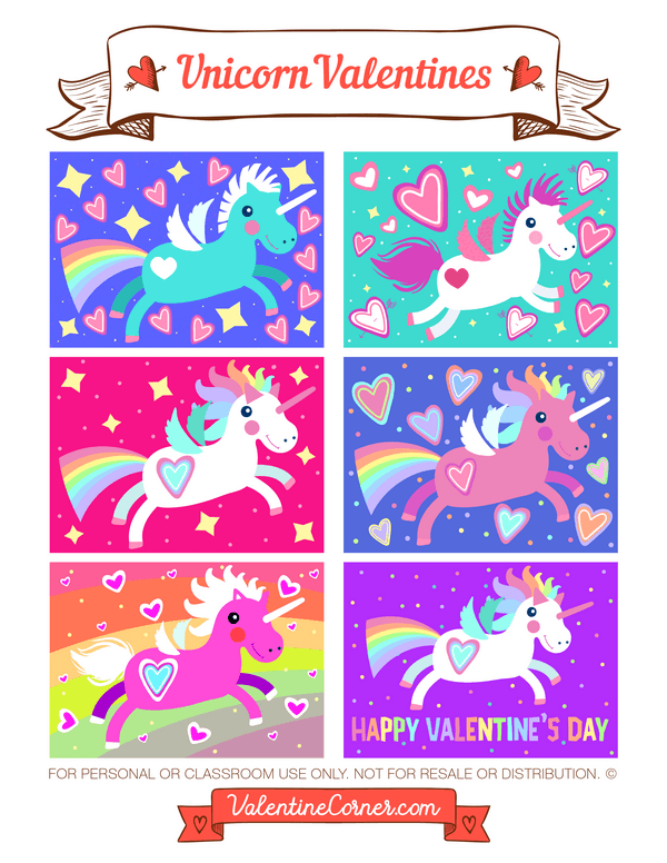Free printable unicorn Valentine cards Download the Valentines in