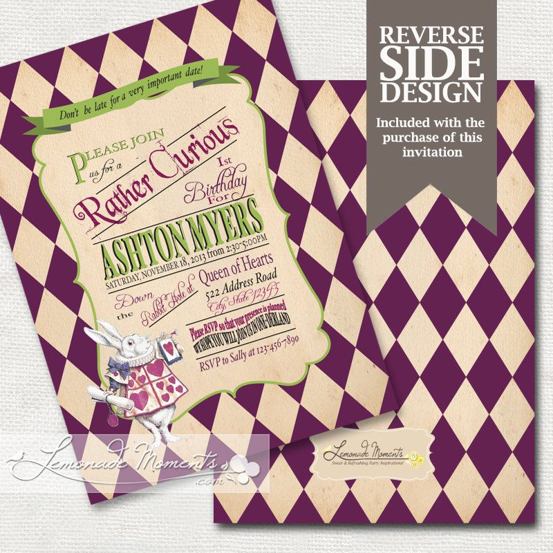 Alice in Wonderland Invitation / Mad Hatter Tea Party - Printable ...