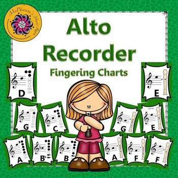 Recorder Fingering Charts For Alto Recorder (Green) | Elementary
