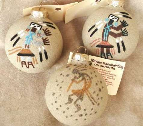 Navajo Sand Painted Southwest Christmas Ornament (RPNSPORN) - You will love  these individually hand crafted Southwest Navajo Sand Painting. - Navajo Sand Painted Southwest Christmas Ornament (RPNSPORN) - You