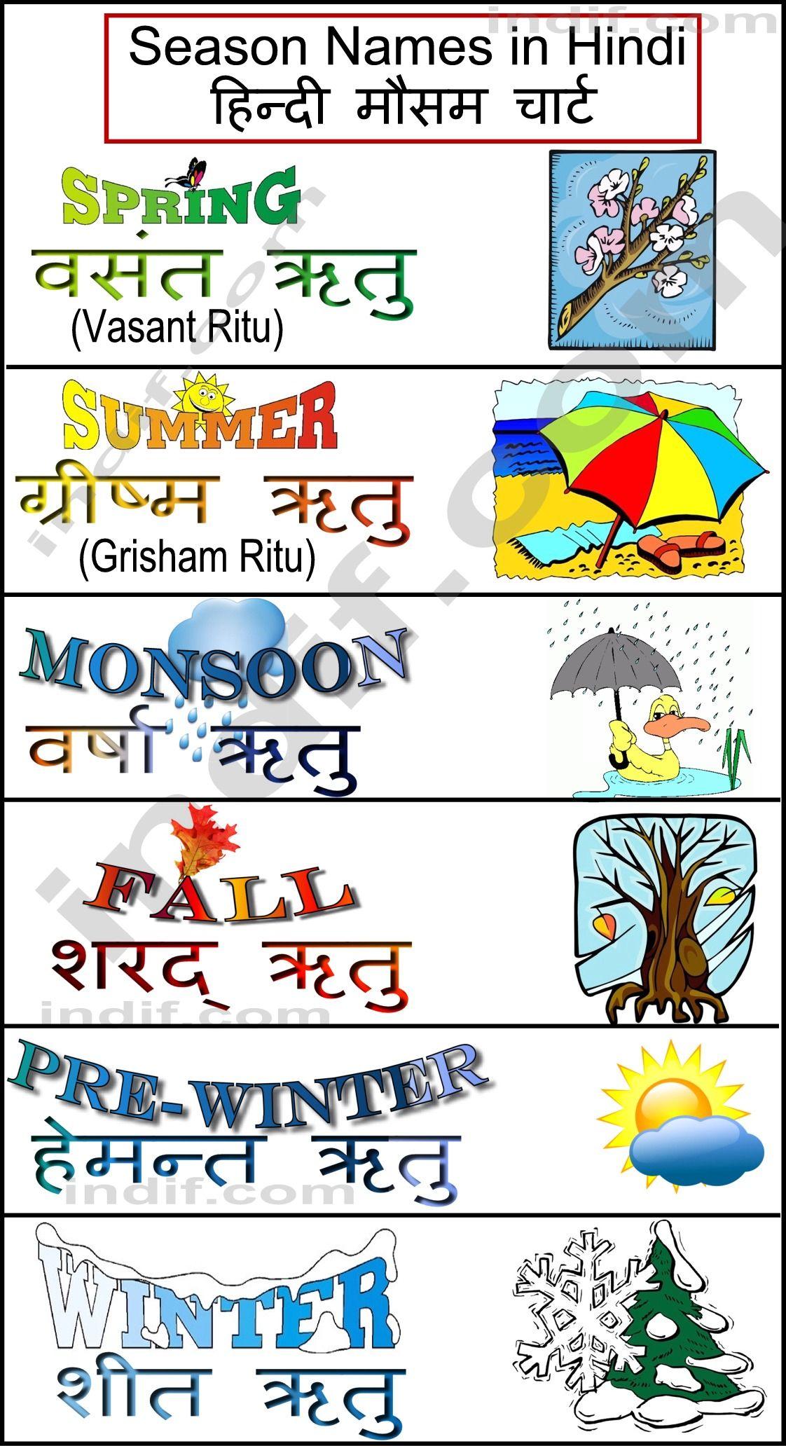 Hindi seasons chart also pinterest learn language  rh