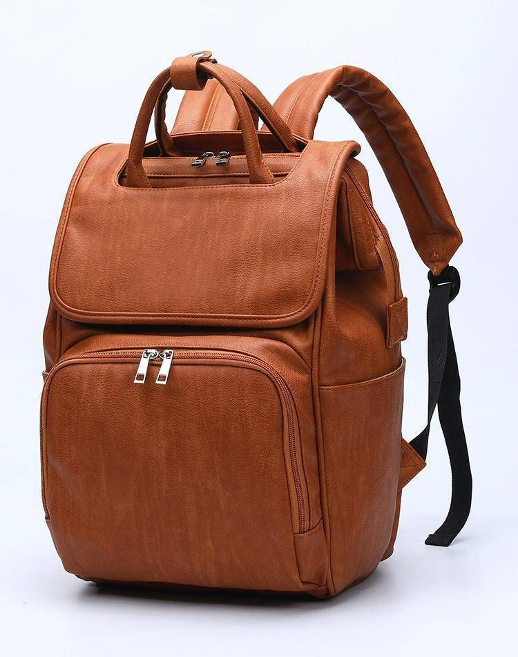 The Rory Diaper Bag Backpack Vegan Leather In 2020 Leather Diaper Bag Backpack Leather Diaper Bags Faux Leather Diaper Bag