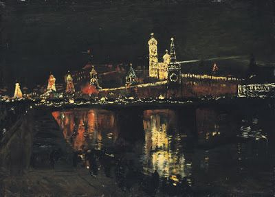 Isaak Levitan  Isaak Il'ich Levitan (1860-1900) The Illumination of the Kremlin signed in Cyrillic and dated 'I Levitan 96' (lower right) oil on panel 24½ x 33¾ in. (62.2 x 85.7 cm.)