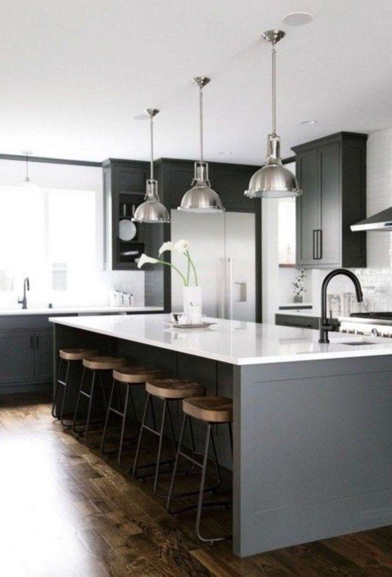40+ Fashionable Dark Grey Kitchen Design Ideas #kitchendesign #kitchenideas #kitchenremodel #greykitchendesigns