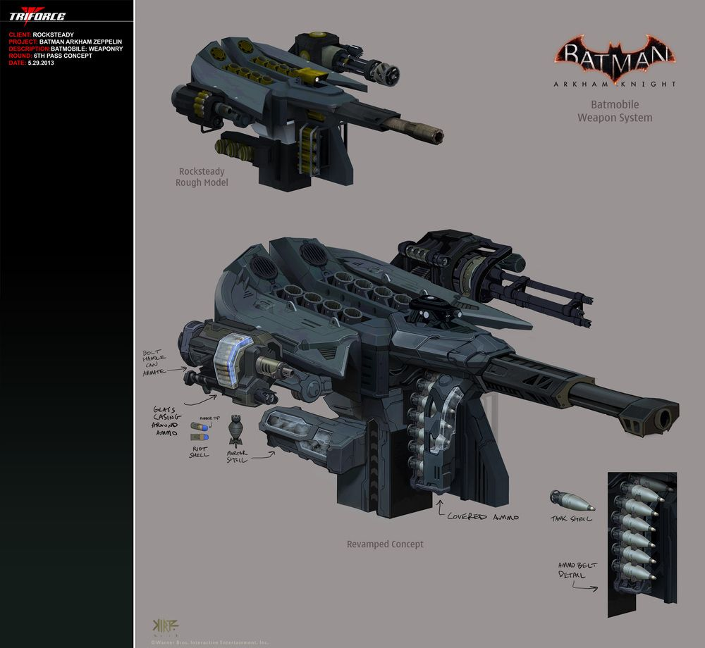 Batman Arkham Knight Batcave: Batmobile & Red Hood Weaponry Concept Art For Batman