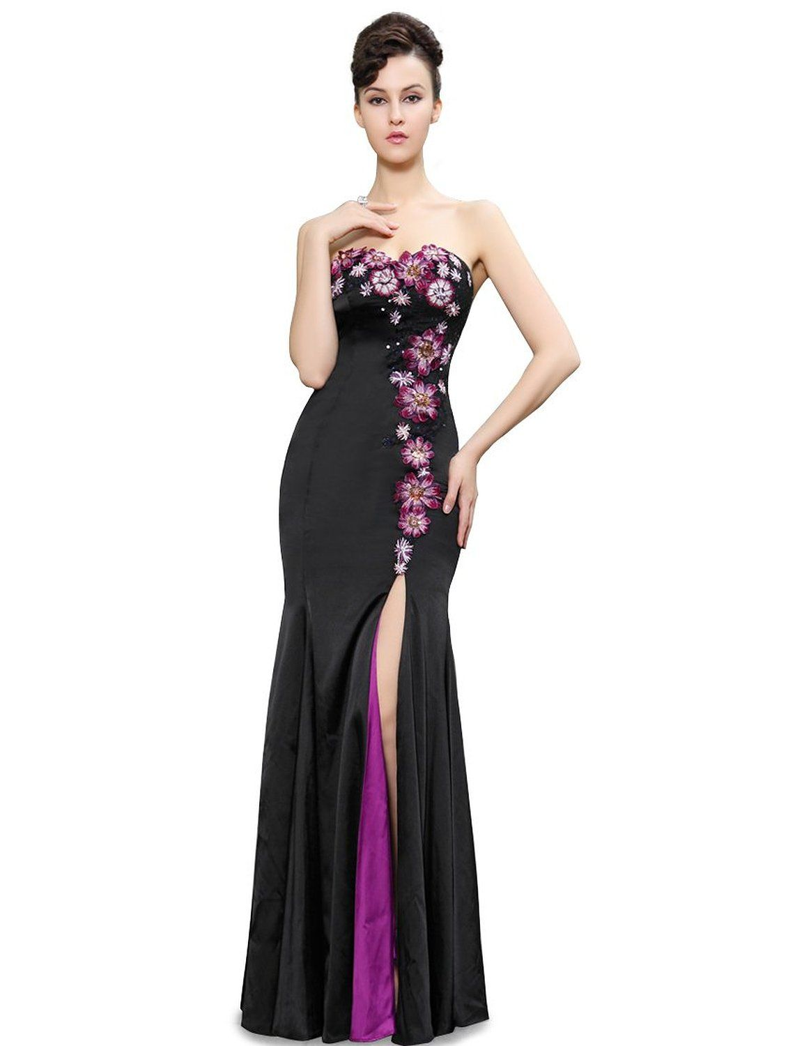 Strapless trailing evening dress padded enough for