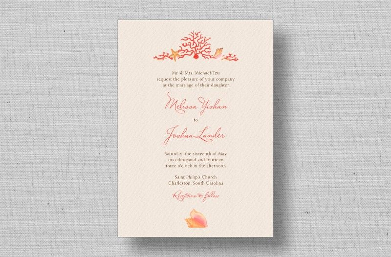 Create A Tropical Beach Wedding With The Coral Reef Invitations From MarryMoment Hand Painted Watercolor And Seashell