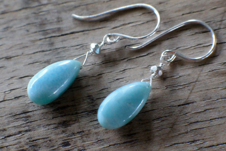 larimar and aquamarine drop earrings Amazonite