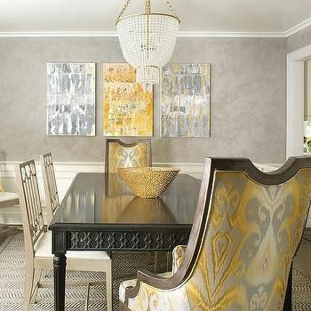 Yellow And Gray Dining Room With Wainscoting Grey Dining Room