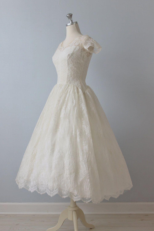 50s wedding dress lace  Tea Length Wedding Dress  s Wedding Dress  s Lace Dress
