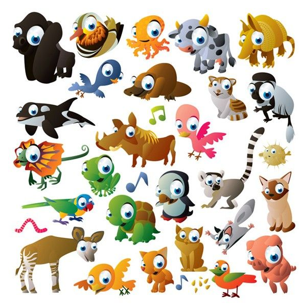 XOO Plate :: 30 Big Eyed Cute Cartoon Animals Vector Set - 30 Cute cartoon creatures with big googly eyes set in vector EPS.