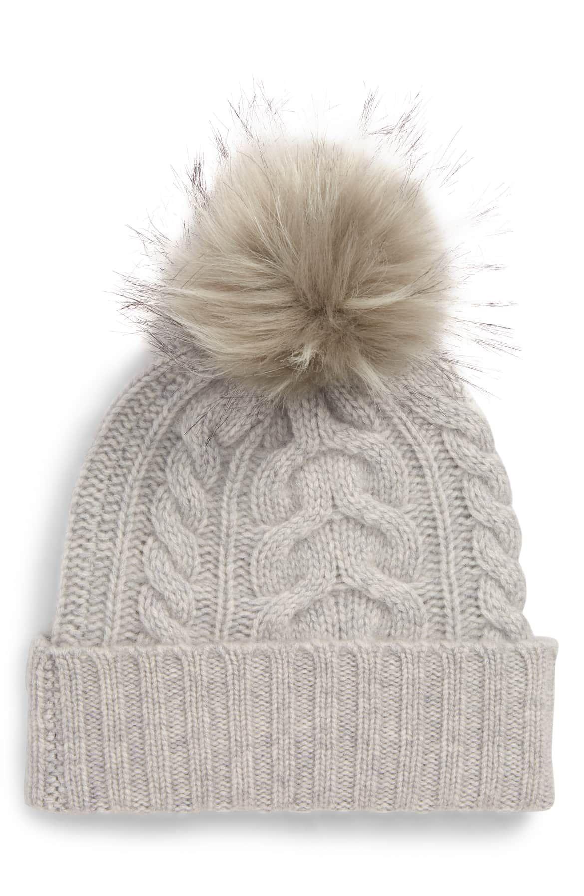 9e0fb5fc08e Cashmere Cable Knit Beanie with Faux Fur Pom