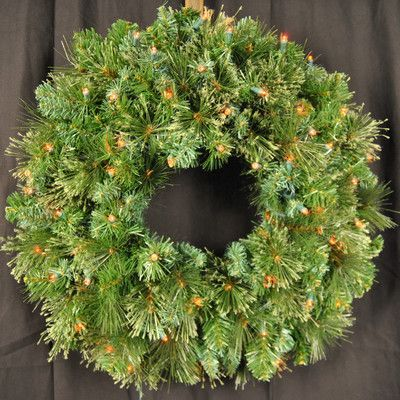 Queens of Christmas Pre-Lit LED Blended Pine Wreath Size 24\