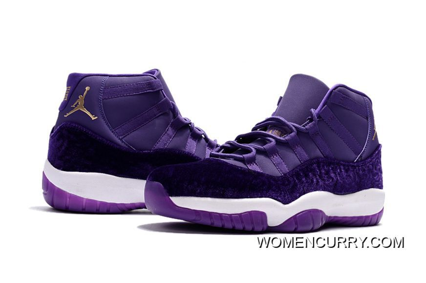 New Air Jordan 11 Heiress Purple Velvet Free Shipping Velvet Jordans d2be30dec