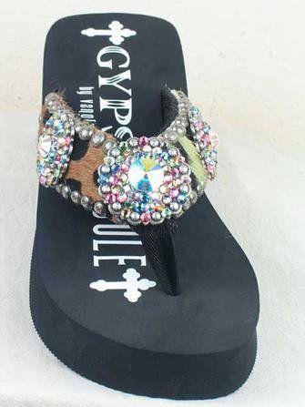 1ce4f25691b568 Cool Gypsy Soule Flip Flops BW-LO Animal Print Hide Black Wedge ...