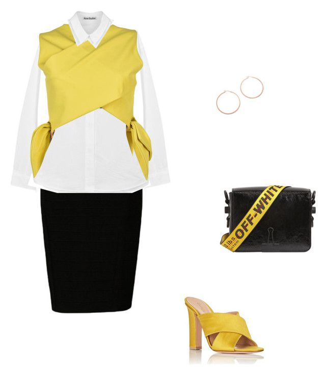"""Mustard Yellow Avant Garde"" by joelleramey ❤ liked on Polyvore featuring Acne Studios, MSGM, Gianvito Rossi, Off-White and Jennifer Zeuner"