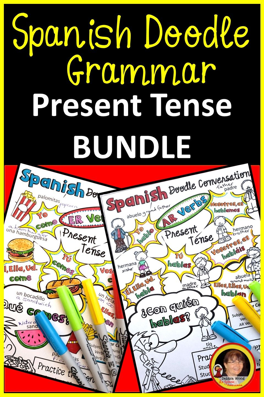 Spanish Present Tense Verbs Bundle Spanish Doodle Verbs Bundle Present Tense Verbs Conversation Cards How To Speak Spanish [ 1440 x 960 Pixel ]
