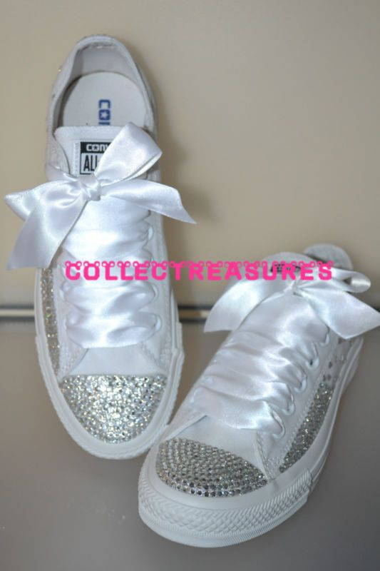 0c11edfdd1dd Custom Crystal Diamante Bling Wedding White MONO Converse Size UK 3 4 5 6 7  8 9