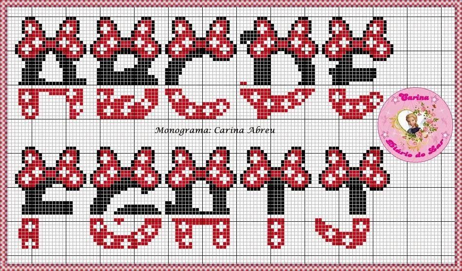 Abc Mickey Com Imagens Ponto Cruz Modelo De Ponto Cruz De
