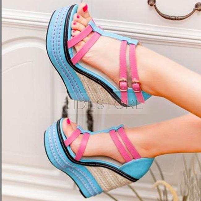 Trendy Thread Platform Wedge Sandals