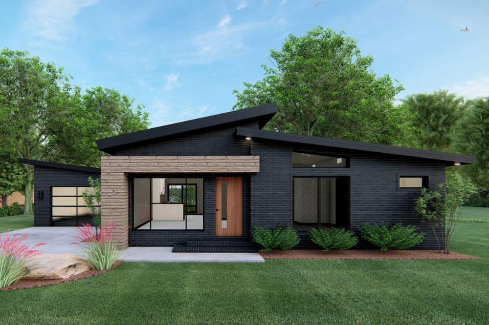 Plan 70670mk One Level Contemporary Home Plan With Single Garage Contemporary House Exterior Contemporary House Plans Modern Style House Plans