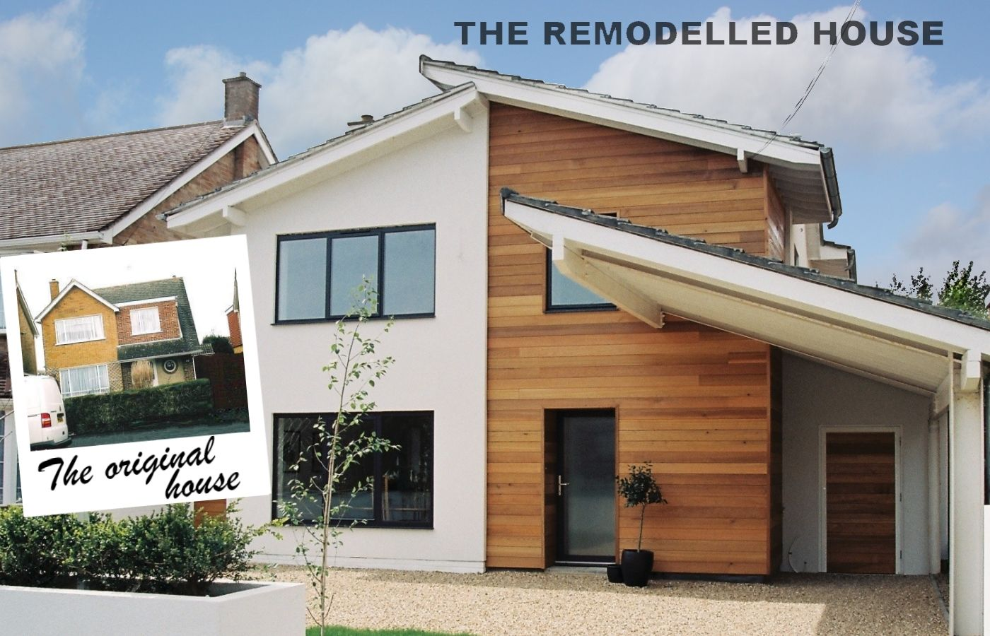 Before and after of the remodelled house find out more on for Modern house cladding