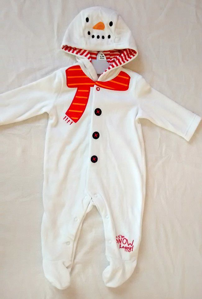 7a76e3baf FREE P P BNWT  Baby Boy Girl Snowman Sleepsuit Onesie 0-24m 0-2 ...