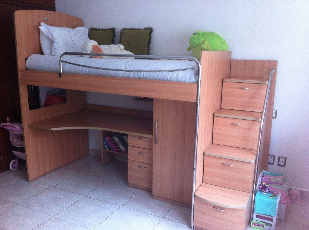 Dormitorio con litera mas closet y escritorio camas for Litera escritorio debajo