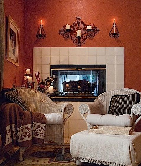 Love the terracotta wall color! | Living room remodel, Grey ...