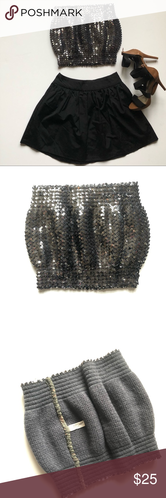 851f91d67e Silver Grey Sequins Tube Top Stretchy M Beautiful 😍 Sequins Top Perfect  for New year! Stretchy and comfortable fabric lining 50% acrylic