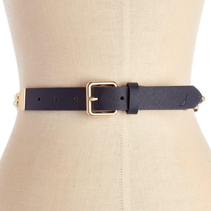 Nautica Women/'s Chain Accent Belt Navy//Gp Size Large New