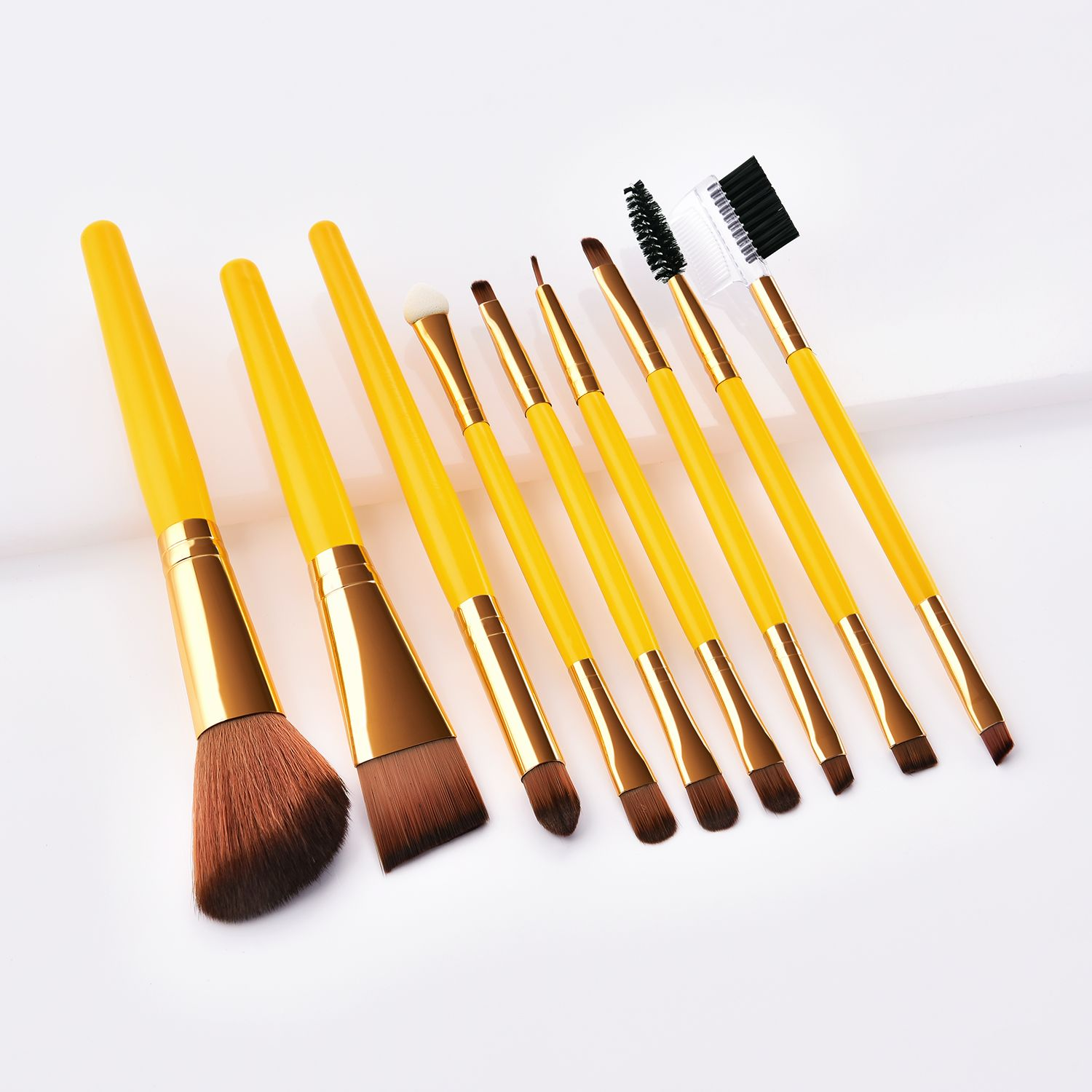 Yellow makeup brushes set available Double ends makeup