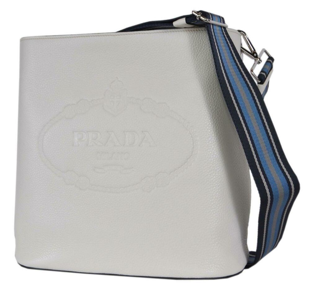 4e5925bc New Prada 1BE023 Vitello Secchiello White Leather Embossed Logo Crossbody  Purse #Prada #Crossbody