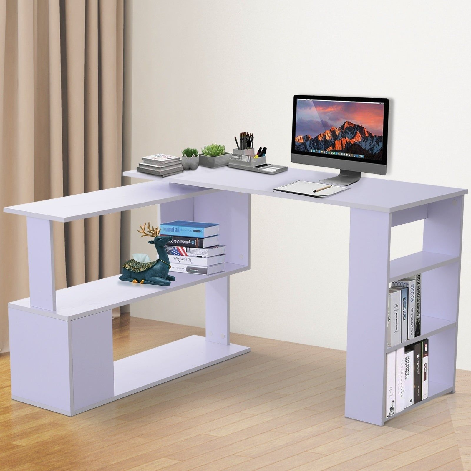 Homcom Modern L Shaped Rotating Computer Desk With Bookshelves