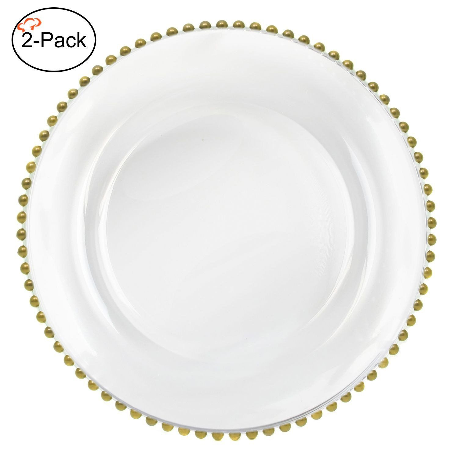 Amazon Com Tiger Chef 13 Inch Gold Round Beaded Glass Charger Plates Set Of 2 4 6 12 Or 24 D Glass Charger Plates Glass Beaded Charger Plate Glass Charger