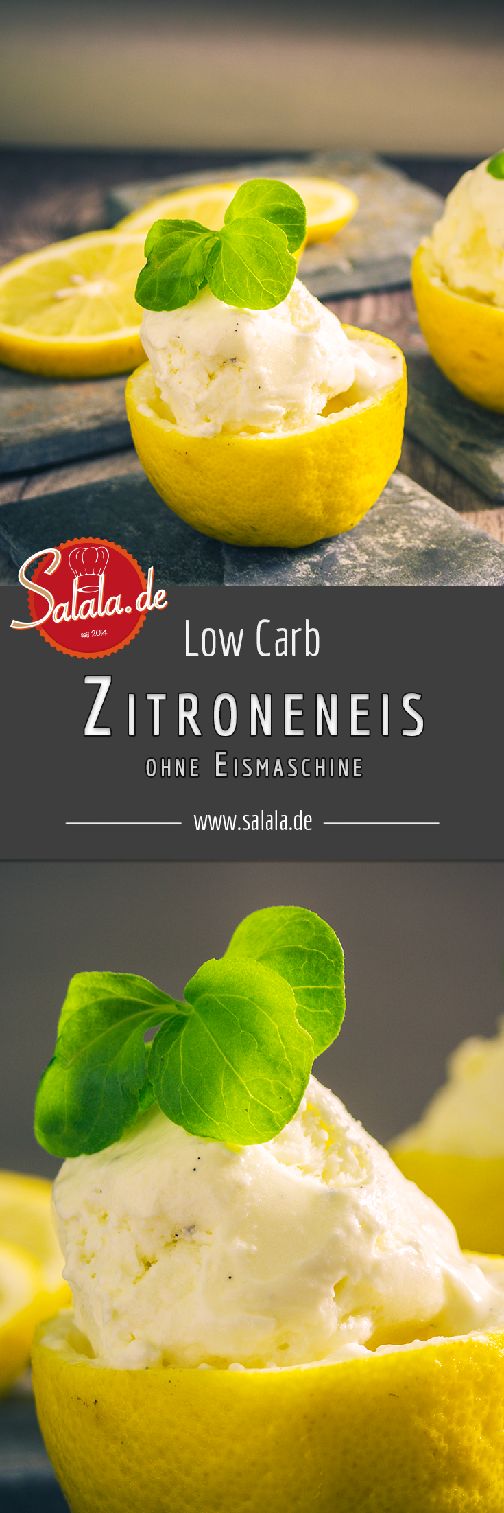 Zitroneneis Low Carb glutenfrei - ohne Eismaschine | salala.de – Low Carb leicht gemacht