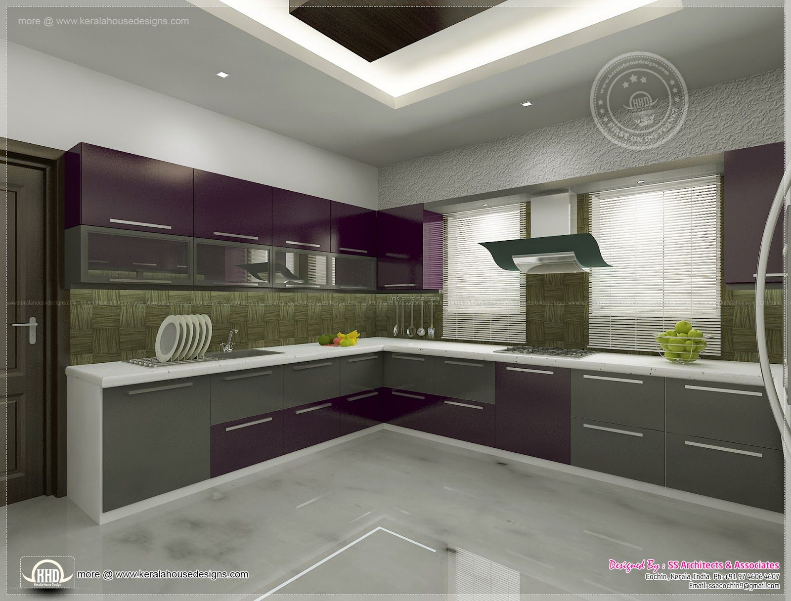 Kerala home design floor plans kitchen interior views ss for Kerala interior designs