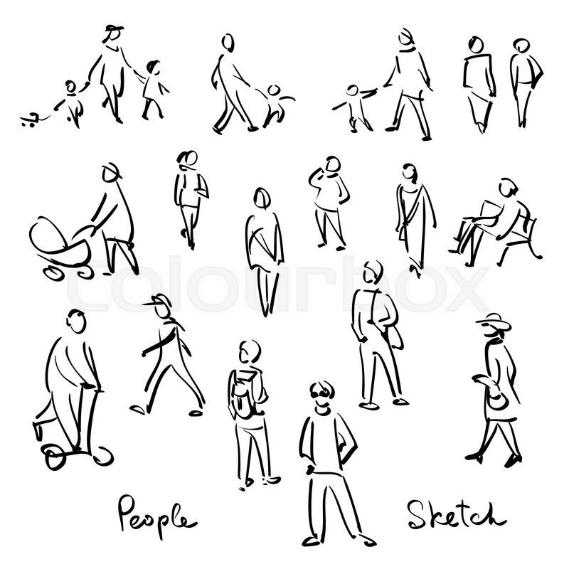 Stock Vector Of Casual People Sketch Outline Hand Drawing Vector