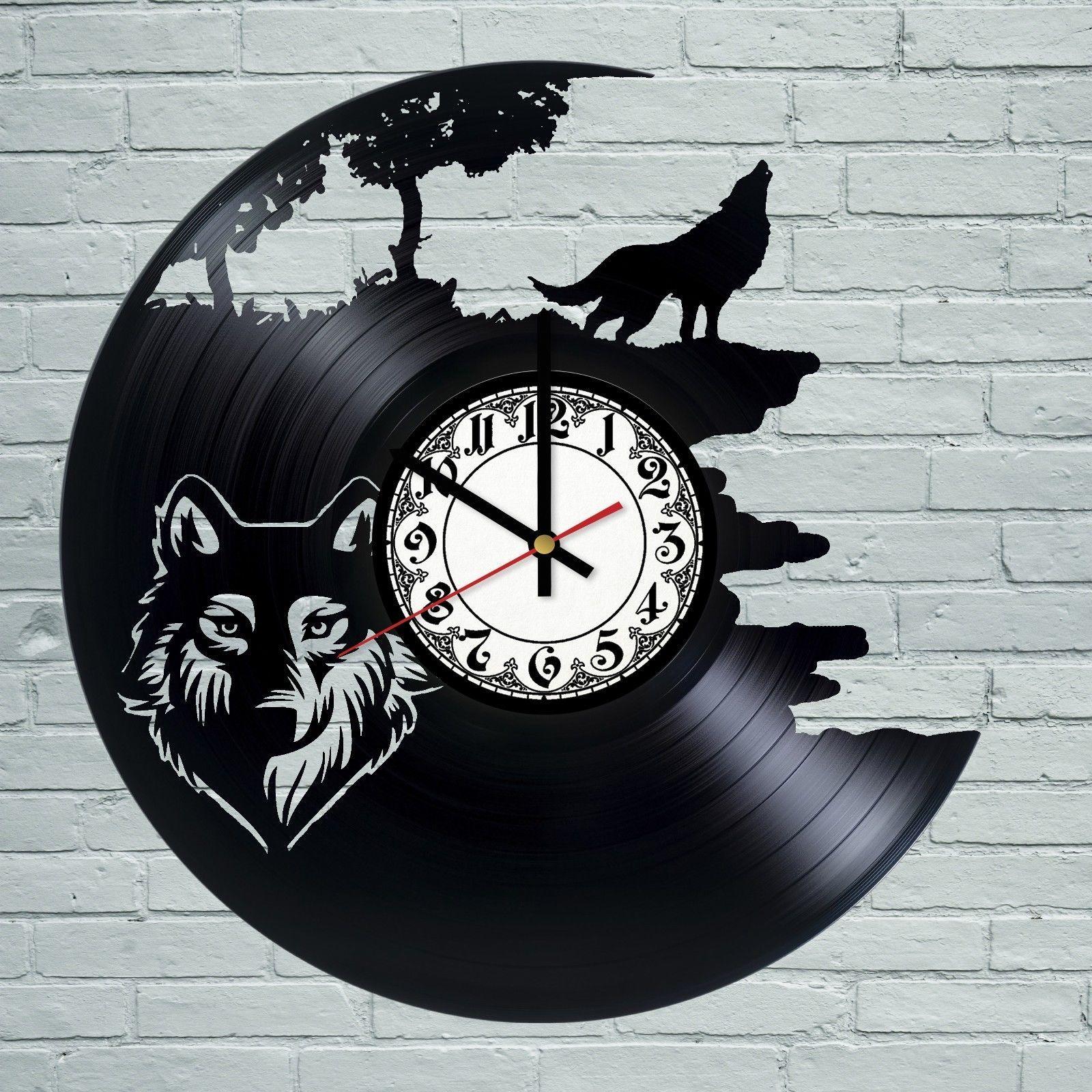 Wolf tiger animal vintage retro men black vinyl record wall clock wolf tiger animal vintage retro men black vinyl record wall clock art design amipublicfo Gallery
