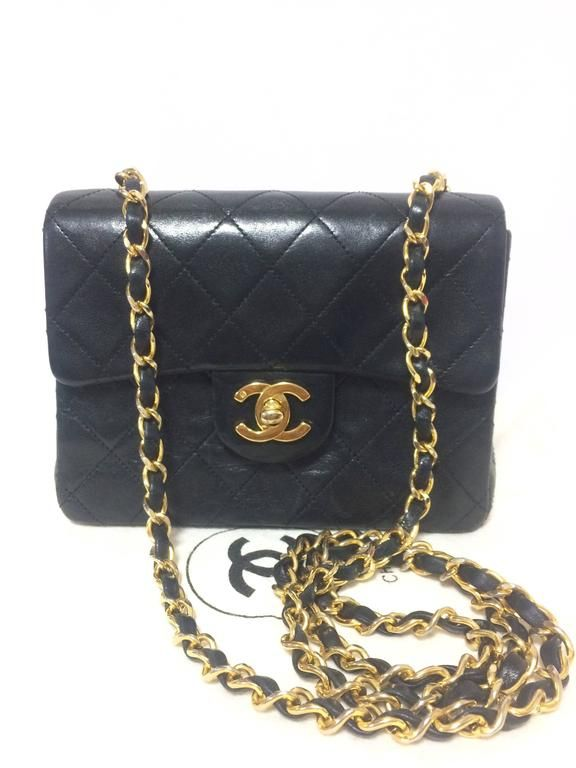 4be227f74939 Vintage CHANEL black lamb leather flap chain shoulder bag
