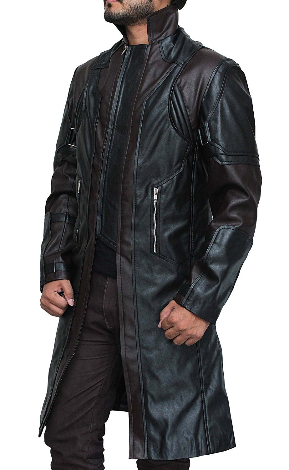 Hawk Brown Leather Coat Jacket at Amazon Men's Clothing