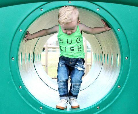 Hug Life Tank Neon-Mint/Pink/Aqua – Little Dude N Dudette